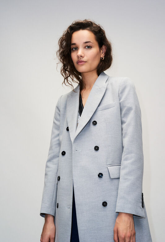 GINOH19 : Coats & Jackets color GRIS CHINE CLAIR