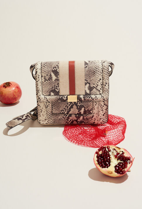 ANGELA STRIPES SNAKE : Bags & Leather Goods color Beige