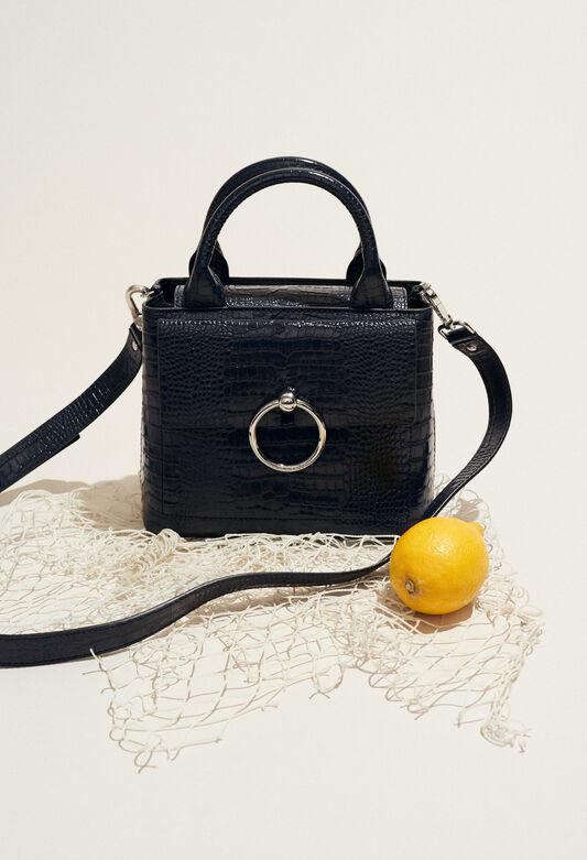 ANOUCK SMALL REPTILE CROCO : Sacs et Maroquinerie couleur MARINE