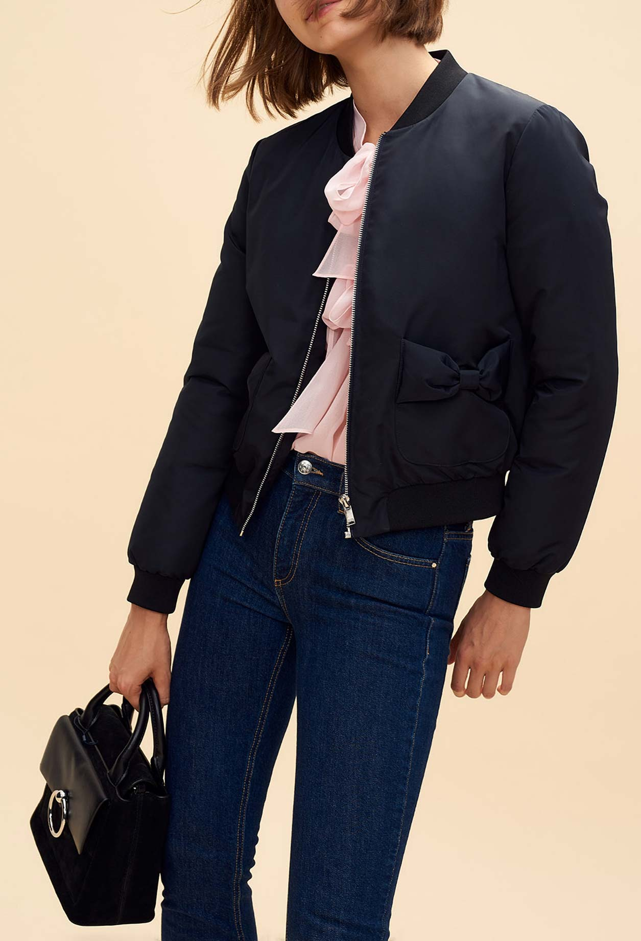 Bomber jacket with bow pocket details