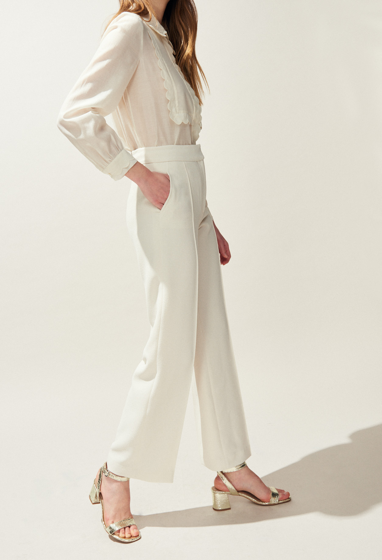 Plain loose wide-leg trousers