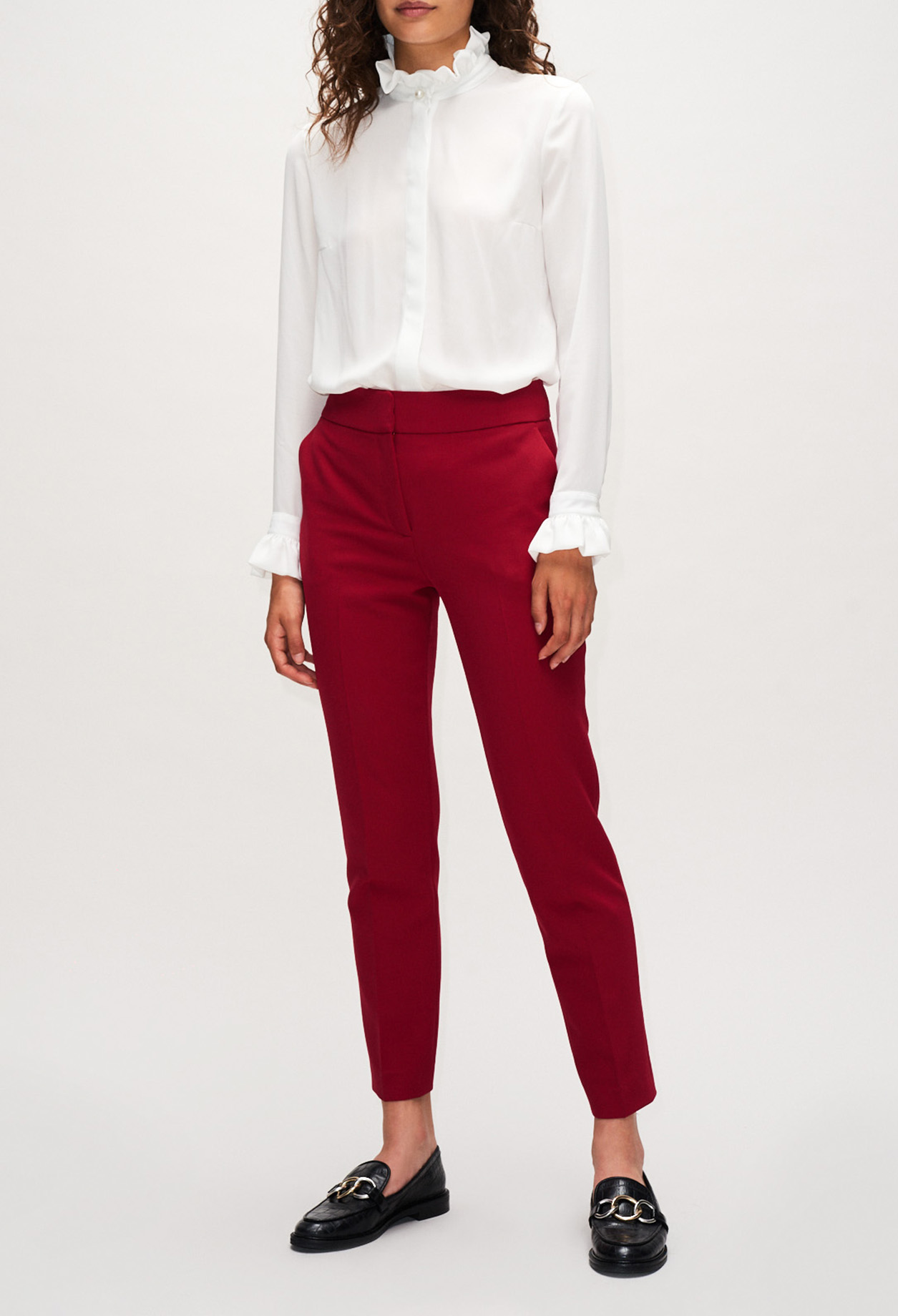 Red cigarette fit trousers