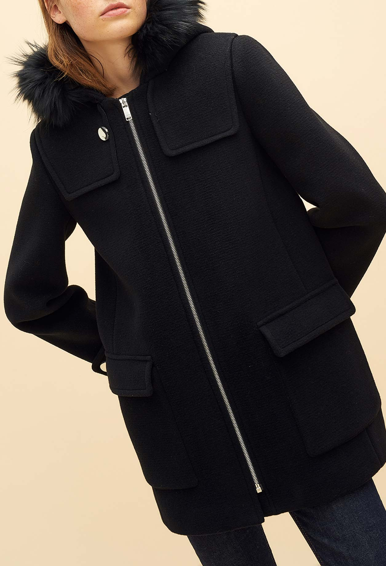 Wool coat with fur hood
