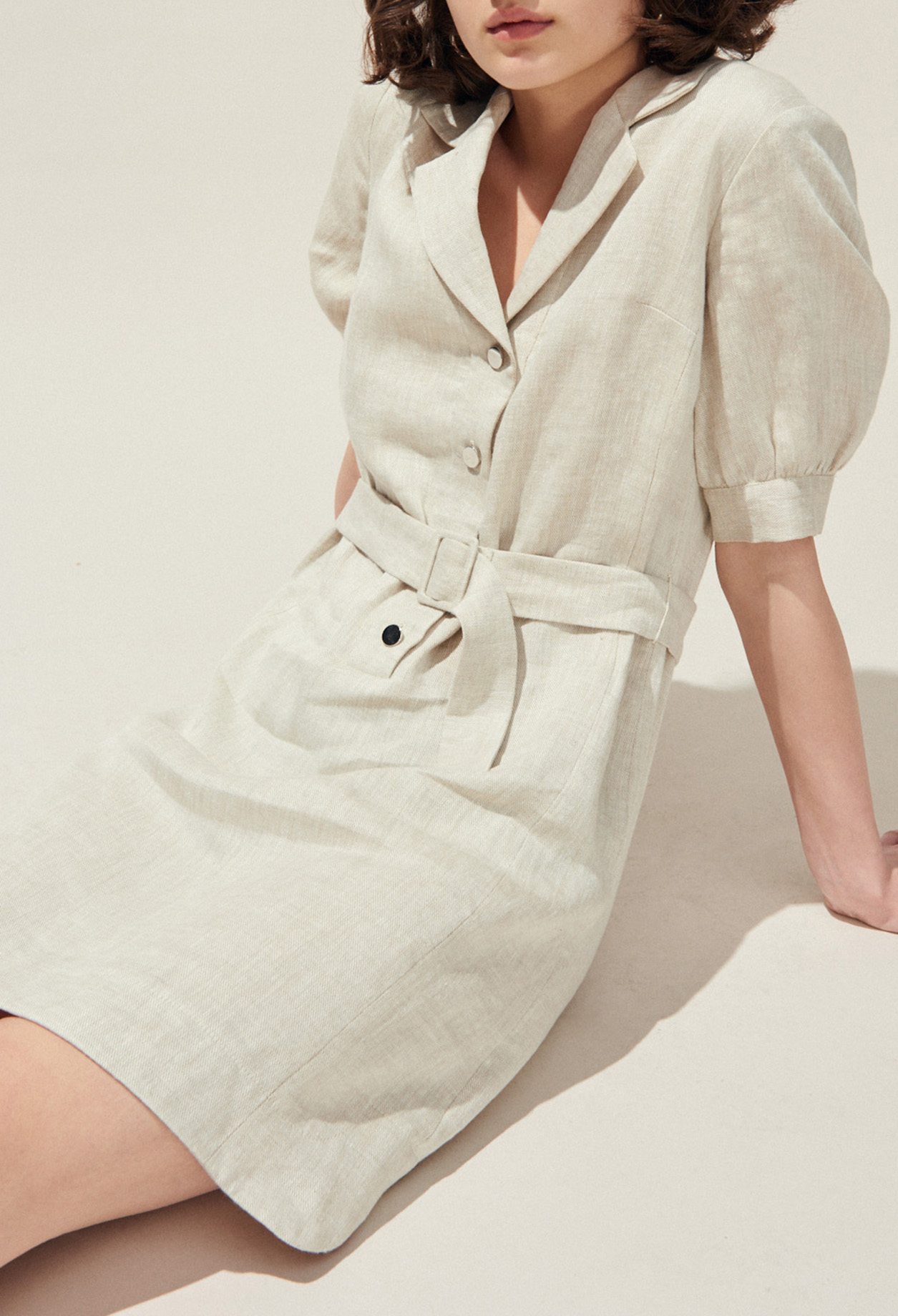 Belted linen shirt dress