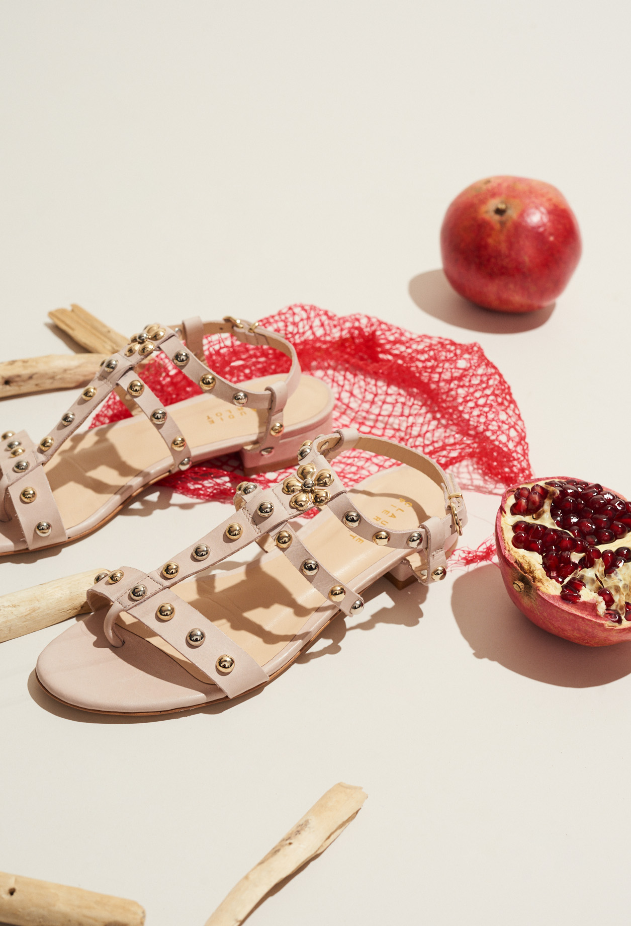 Two-tone studded sandals