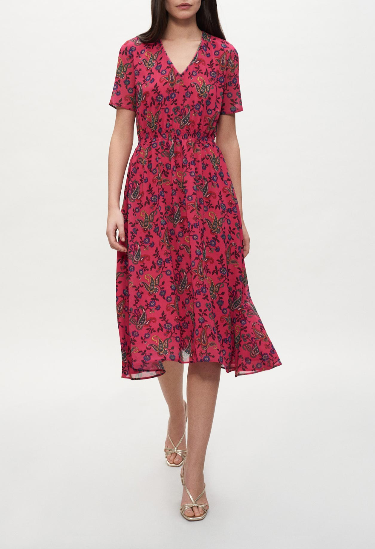 Asymmetrical paisley dress