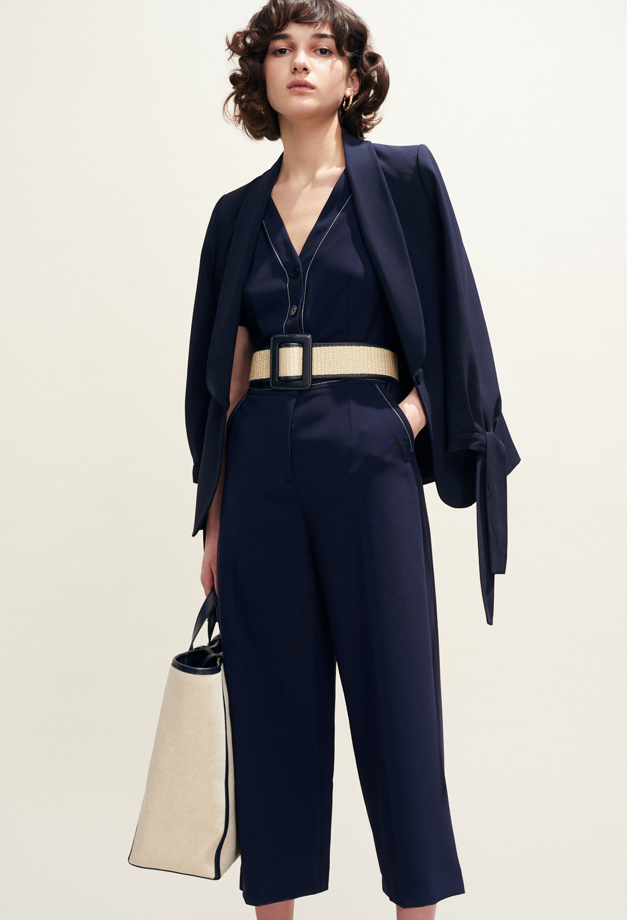 Jumpsuit with contrast stitching